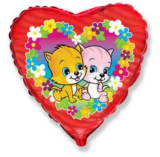 Balón mačky a kvety 45 cm