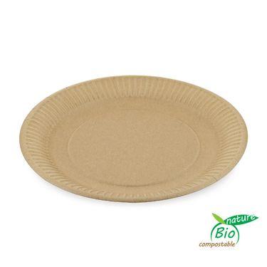 Tanier papierový plytký hnedý 23 cm 100 ks